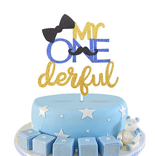1st First Birthday Cake Topper Decoration - Mr ONEderful -Mustache Cake Topper with Bowtie-Double Sided Glitter Gold -