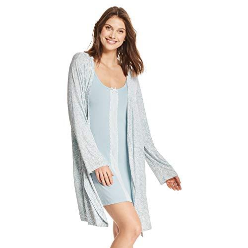 (Kathy Ireland Womens Lace Trim Chemise Nightgown & Belted Wrap Robe Sleepwear Set Mint X-Large)