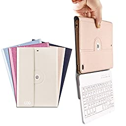 iPad Mini Case with Builtin Removable Bluetooth Keyboard for Apple iPad 7.9 inch , iPad Mini 1 / 2 / 3 with 360 Degree Rotation and MultiAngle Stand (Champagne)Makes the Perfect Father's Day Gift