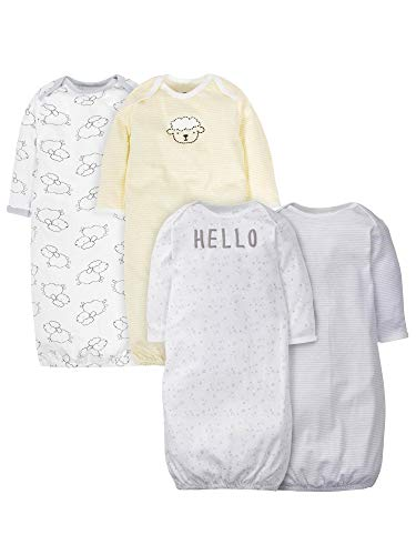 Gerber Baby 4-Pack Gown, Sheep, 0-6 Months
