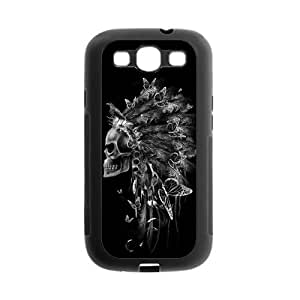 Samsung Galaxy S3 I9300 Case,Aztec Tribal Indians Chief Skull Beautiful Butterflies High Definition Fantastic Design Cover With Hign Quality Rubber Plastic Protection Case