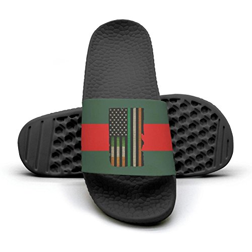 Woman Irish American Flag red and green stripe Summer Sandals Slides Mules Slippers for Lady by Congjun