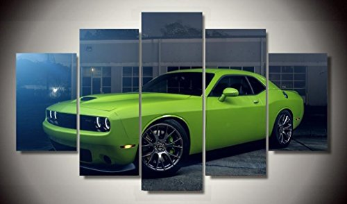 Green Dodge Challenger Hellcat Muscle Classic Racing Sport Super Rally Car Supercar Canvas Prints Picture Painting Framed Ready to Hang (5 Panels/Set) by Stonestore88
