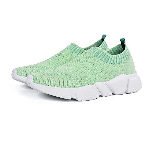 Pictures of Mxson Women's Slip On Sneaker Mesh Green 7 M US 2