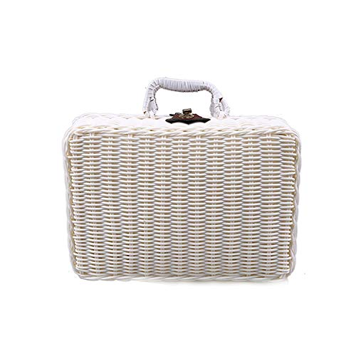 Kayer-Hebe woven Baskets Travel Picnic Basket Handmade Wicker Storage Case Vintage Suitcase Props Box Weave Bamboo Boxes Outdoor Rattan Organizer,White,29 X 22 X 14 cm (Suitcase Wicker Vintage)