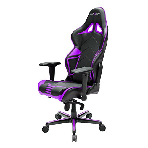DXRacer Racing Series DOH/RV131/NV Office Chair Gaming Chair Carbon Look Vinyle Ergonomic Computer Chair Esports Desk Chair Executive Chair Furniture with Free Cushions (Black/Violet)