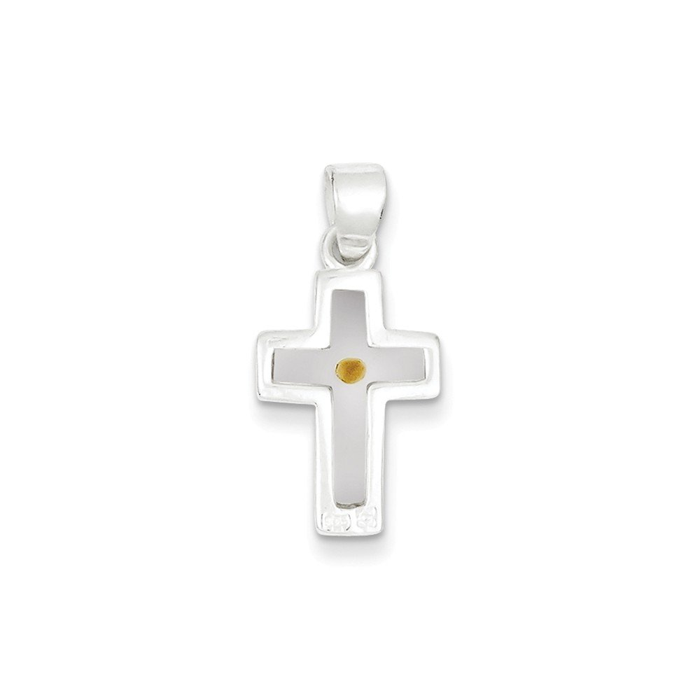 Sterling Silver Enameled with Mustard Seed Cross Pendant Length 25mm