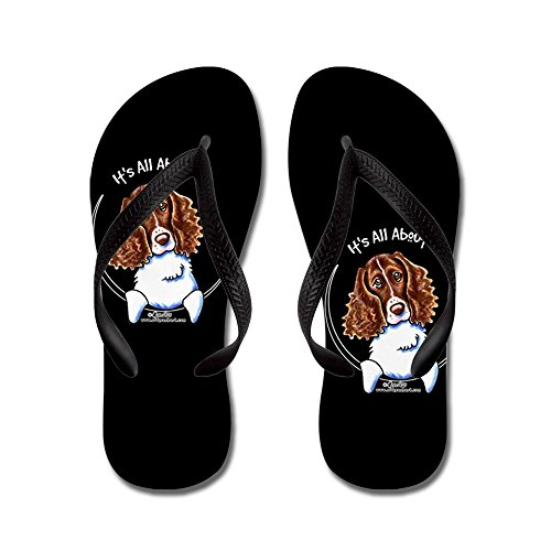 CafePress Springer Spaniel All About Me Black - Flip Flops, Funny Thong Sandals, Beach Sandals Black
