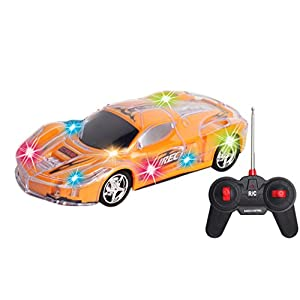 INTEGEAR R/C Remote Control Car 1:20 Scale with Colorful LED Lights, Kid Toys for Boys Girls To Improve Eye-Hand coordination and Fine Motor Skills (Colors Vary)