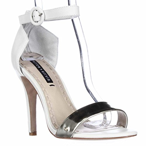 Alice and Olivia by Stacey Bendet Gala Ankle Strap Dress Sandals - White/Pale Gold, 6.5 M US/36.5 EU