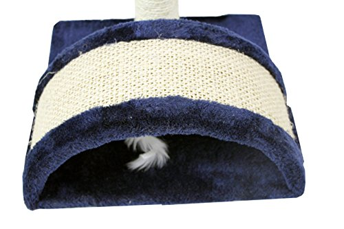 CloudWorks 15'' Small Cat Tree Sisal Scratching Post Furniture Playhouse Pet Bed Kitten Toy Cat Tower Condo for Kittens (Navy Blue) by HIDING by CloudWorks Cat (Image #6)
