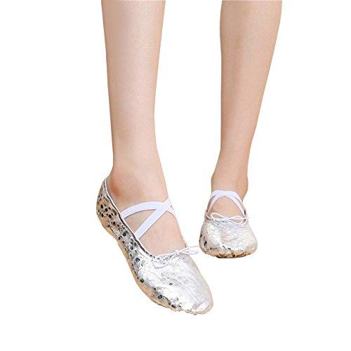 Danza Suola Donna Da Delle Classica Scarpe Con Per Scarpette Argento Ballerina punto Signore Morbido Pu Uomini Le Bimba Ragazze Ballo 5FzqC