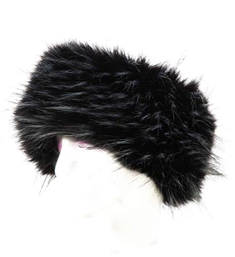 Lucky Leaf Cozy Warm Hair Band Earmuff Cap Faux Fox Fur Headband with Stretch for Women (B1-Black with White)
