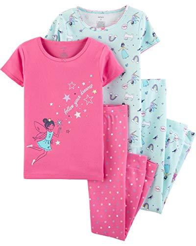 Carter's Girls' 4-Piece Snug Fit Cotton Pajamas (Pink/Turquoise Fairy, 8)