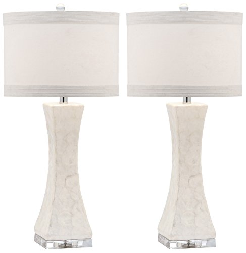 - Safavieh Lighting Collection Shelley Concave White 30.5-inch Table Lamp (Set of 2)