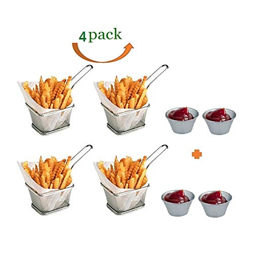 Serving Basket Square - Mini Chips Fry Basket Stainless Steel Fryer Baskets Strainer French Fries Holder,Table Serving Food Presentation Tool With Bonus Sauce Cup (4)