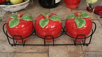 3 Piece Apple Design Ceramic Spice Jars.