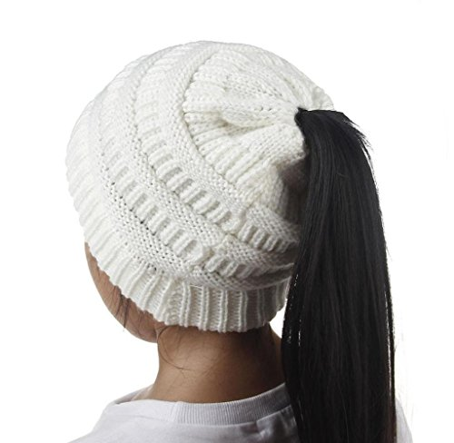 Singleluci Fashion Girls Warm Winter Hats Knitted Wool Hemming Ponytail Cap (White) by Singleluci