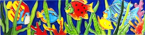 Continental Art Center MD-036 4 by 16-Inch Horizontal Tropical Fishes Ceramic Art Tile