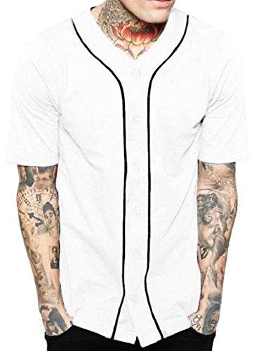 ouxiuli Men's Hipster Short Sleeve Full Button Baseball Jersey Shirt White (Baseball Jersey Dresses)