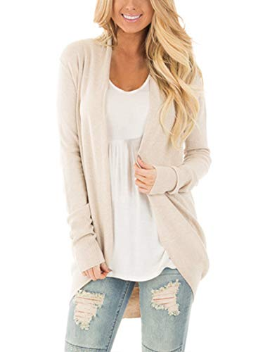 Bdcoco Women's Soft Knit Sweater Outwear Open Front Kimono Cardigans, Apricot, Large / 12-14 from Bdcoco
