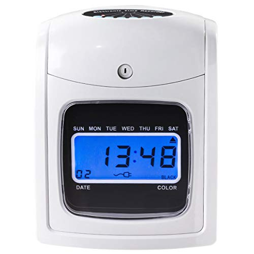 Goplus Electronic Time Attendance Clock, Employee Time Recorder, Punch Clock Machine Includes 200 Cards and 2 Time Cards Racks by Goplus (Image #3)