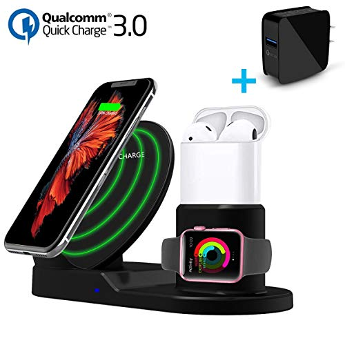 Fast Wireless Charger, Youtec 3 in 1 Wireless Charging Station Stand Dock Pad [Power Adapter] Compatible with Apple Watch+Airpods+iPhone Xs Max/Xs/XR/X/8/8 Plus, Samsung Galaxy S9/S9+/S8/S8+/S7/Note 8