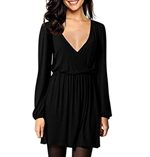 VENAS Womens Long Sleeve V-Neck Elastic Waist Wrap Solid Fit Mini Formal Casual Elegant Dress For Work Party (L, Black+) (V-neck Slim Solid)