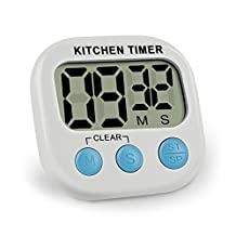 Digital Kitchen Timer,Vanzon Minute Second Count Up Countdown,Digital Loud Alarm Timer with Large LCD Display and Premium Magnetic Backing(White)