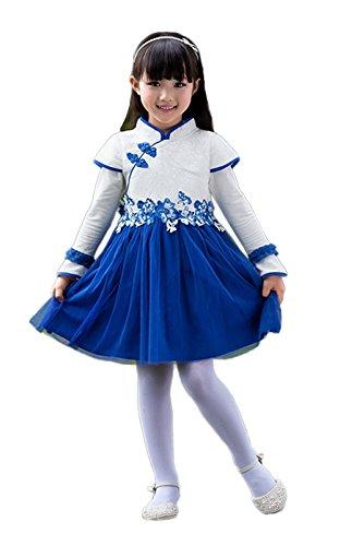 Asian Inspired Costumes (StylesILove Asian Cheongsam Inspired Oriental Girl Costume Dress (140/8-9 Years))