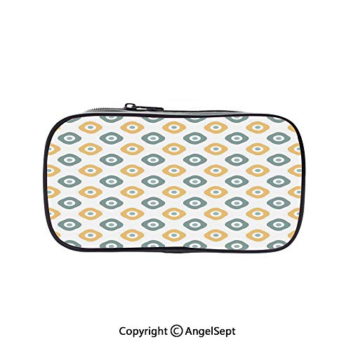 (Bag Pen Case Felt Students Stationery Pouch Zipper Bag,Stylish Bead Amulet Like Figures Cubical Rounded Dotted Almond Green Apricot Mustard 5.1inches,for Pens,Pencils,and Other School Supplies)