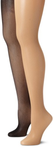 MUSIC LEGS Women's  Plus size 2 Pack Spandex Seamless Fishnet Pantyhose, Black/Beige, One Size (Pantyhose Fishnet Black Spandex)