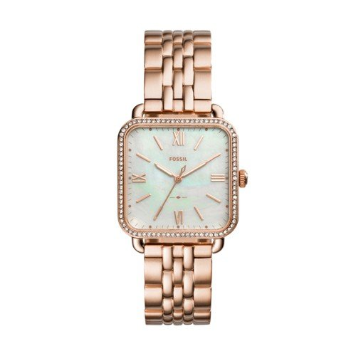 Fossil Women's 'Micah' Quartz Stainless Steel Casual Watch, Color:Rose Gold-Toned (Model: - And Rose White Watch Fossil Gold