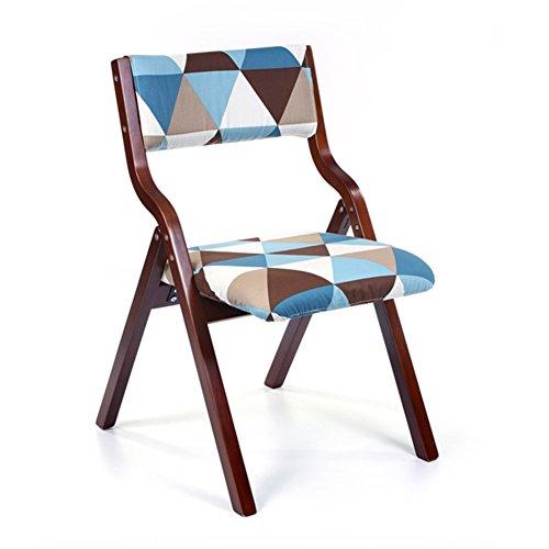 WEI MING-Chair Fashion Folding Armchair Study Desk Computer Solid Wood Backrest Leisure Chair Dining Chair (Brown shelf blue lattice cloth) ()