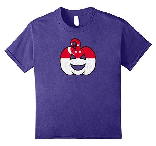 [Kids Singaporean Halloween Pumpkin T-Shirt Singapore Flag Costume 12 Purple] (Singaporean Costume Kids)