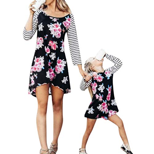 EnjoCho Mother and Daughter Dress Floral Matching Mom Girls Family Clothes Outfits Beach Dress Elegant Princess Pageant Clothing (Age:1-2 Years, -