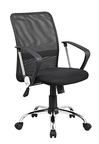 Mid-back Swivel Mesh/PU Seat Computer Swivel Lumbar Support Executive Office Chair with Seat Height Adjustment, Jet Black