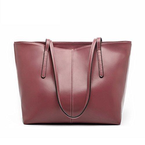 ZCJB Big Bag Lady Bags Temperament Moda Wild Soft Leather Bag Bolsos De Hombro Bolso ( Color : Negro ) Taro Color