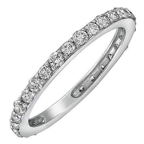 Olivia Paris 14k Gold 1 1/2 Carat (ctw) Certified Diamond Eternity Wedding Band Ring (J-K, VS1-VS2) (Wedding Ring With Diamonds All The Way Around)