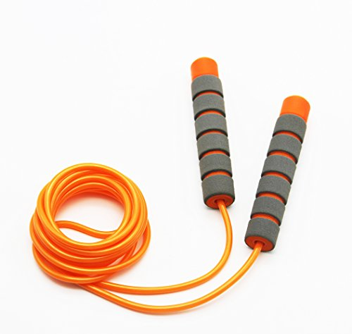 Adjustable Soft Skipping Rope with Skin-Friendly Foam Handles for Kids, Children, Students and Adults - Orange, 2.6m