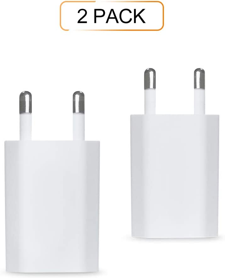 CHYU Chargeur Secteur USB Chargeur Mural Adaptateur USB Universel pour iPhone XS Max XR 8 Plus 7 6 5 Samsung Huawei LG Sony HTC Pack of 2