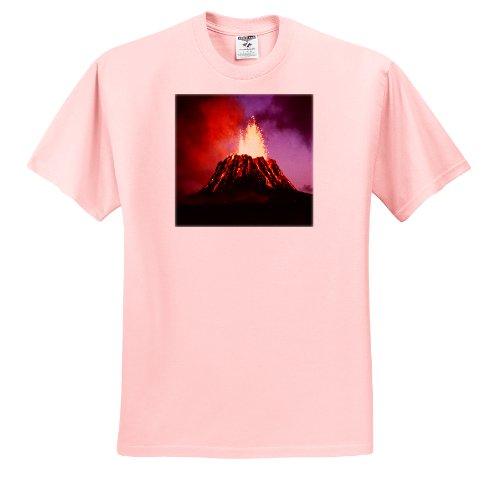 - Sandy Mertens Hawaii Travel Designs - Hawaii Volcano Eruption at Night - T-Shirts - Youth Light-Pink-T-Shirt Small(6-8) (ts_8120_44)
