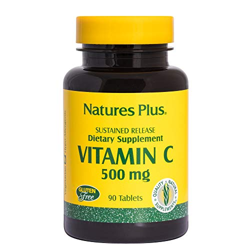 Natures Plus Vitamin C - 500 mg, 60 Vegetarian Tablets, Sustained Relief - Whole Food Immune Support Supplement, Antioxidant with Rose Hips - Gluten Free - 30 Servings