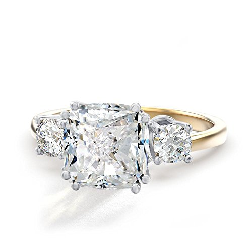 Samie Collection 3.67ctw Cushion CZ 3-Stone Engagement Rings Inspired by Meghan & Harry's Royal Wedding in 14K Gold Plating Checkered Band Ring