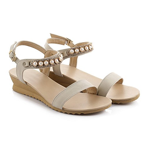 AmoonyFashion Womens Soft Leather Open Toe Kitten Heels Buckle Solid Sandals Beige nbjNJUlo