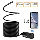 -Black01 16.5FT Wireless Endoscope ,IP68 Waterproof WiFi Borescope Tablet 2MP 1080P HD Semi-Rigid Snake Camera for iPhone ,Android Motor Engine Sewer Pipe Vehicle Inspection Camera