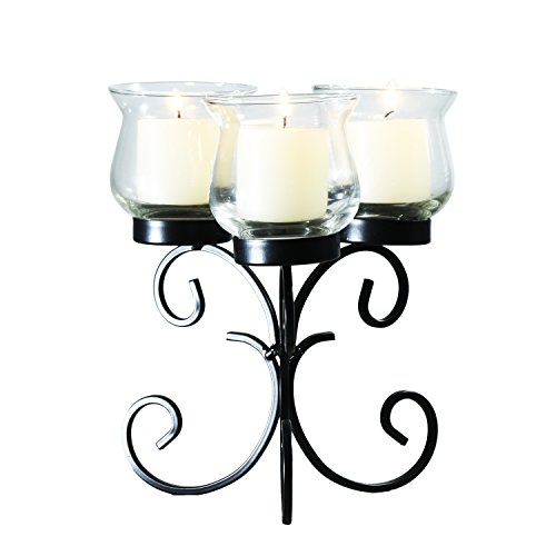 Adeco Decorative Iron Vertical Table Standing Candle Pillar Holder, Antique Vintage Vine Bubs Style, Classy Home Decor Accent