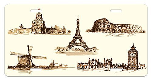 zaeshe3536658 Ancient License Plate, European Landmark Traveller Tourist Cities Italy France Spain Sketchy Image, High Gloss Aluminum Novelty Plate, 6 X 12 Inches, Brown and Cream by zaeshe3536658