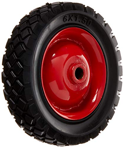Shepherd Hardware 9589 6-Inch Semi-Pneumatic Rubber Tire, Steel Hub with Ball Bearings, Diamond Tread, 1/2-Inch Bore Offset Axle ()
