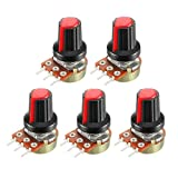 uxcell 5Pcs 10K Ohm Variable Resistors Single Turn Rotary Carbon Film Taper Potentiometer with Knobs